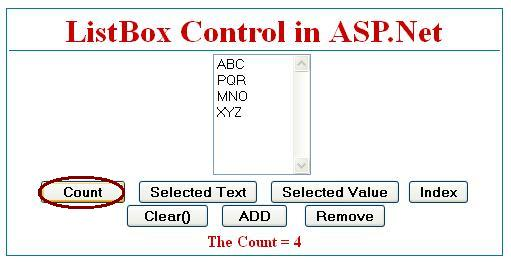 Count Total Number of items in listbox control in asp.net