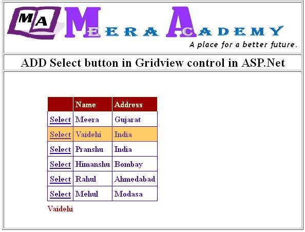 ADD Select button in Gridview control in ASP.Net