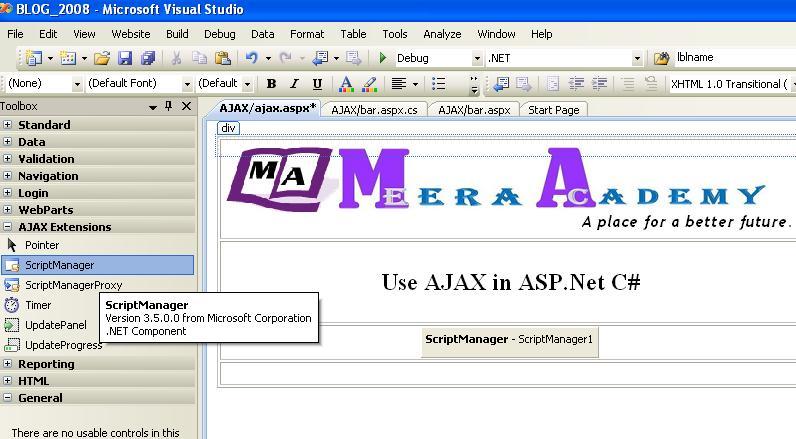 AjaxComponent in ASP.Net 2008