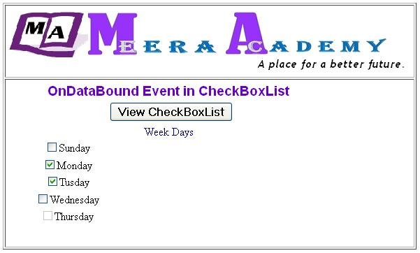 ASP.Net CheckboxList Control OnDataBound Event Example with C#