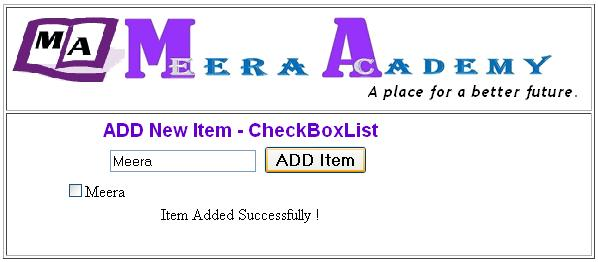 Add new item to CheckboxList Control programmaticaly in ASP.Net with C#