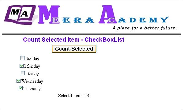 Count Selected items of CheckBoxList Control in ASP.Net with C#