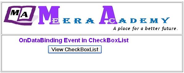 ASP.Net CheckboxList Control OnDataBinding Event Example with C#