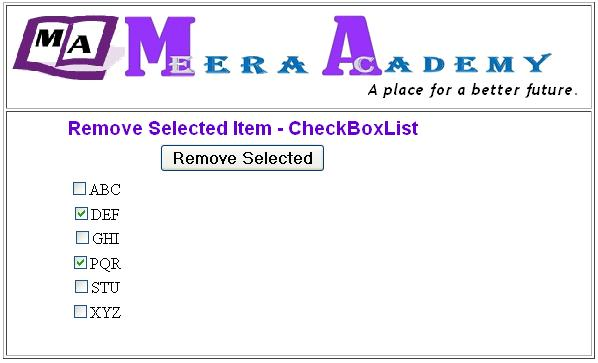 Remove selected item from CheckBoxList control in ASP.Net with C#