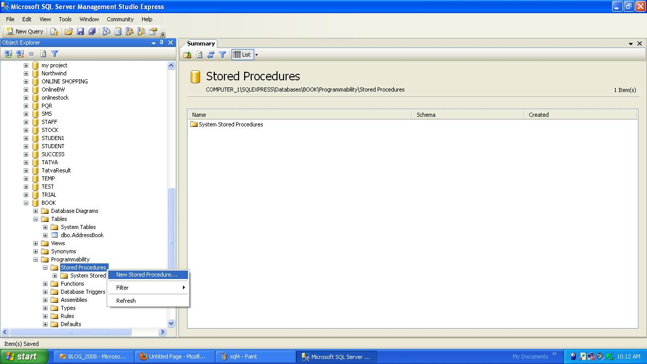 Create a New StoredProcedure in SQL-Server