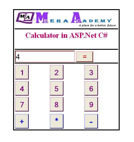 create calculator in asp.net with C#