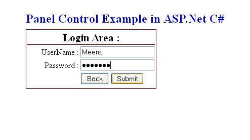 Panel Control in ASP.Net C#