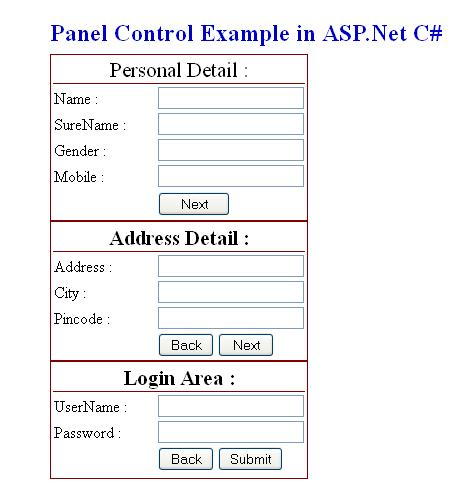 Panel Control in ASP.Net with C#