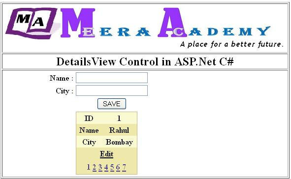 How to Edit, Update, Detele in DetailsView in ASP.Net C#.