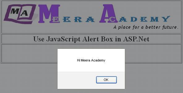 JavaScript alert() box in asp.net