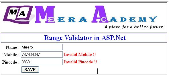 How to use RangeValidator control in asp.net