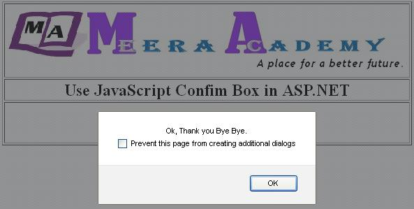 JavaScript confirm box in asp.net