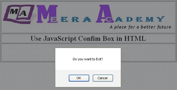 JavaScript confirm box in HTML