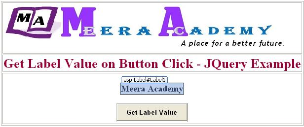 Get Label value while button click in asp.net using JQuery