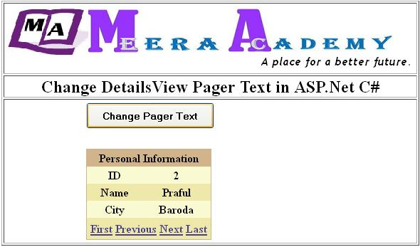 Change DetailsView Pager Text in ASP.Net C#