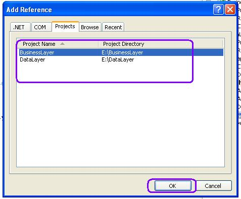 Add references of business layer into web application references folder.