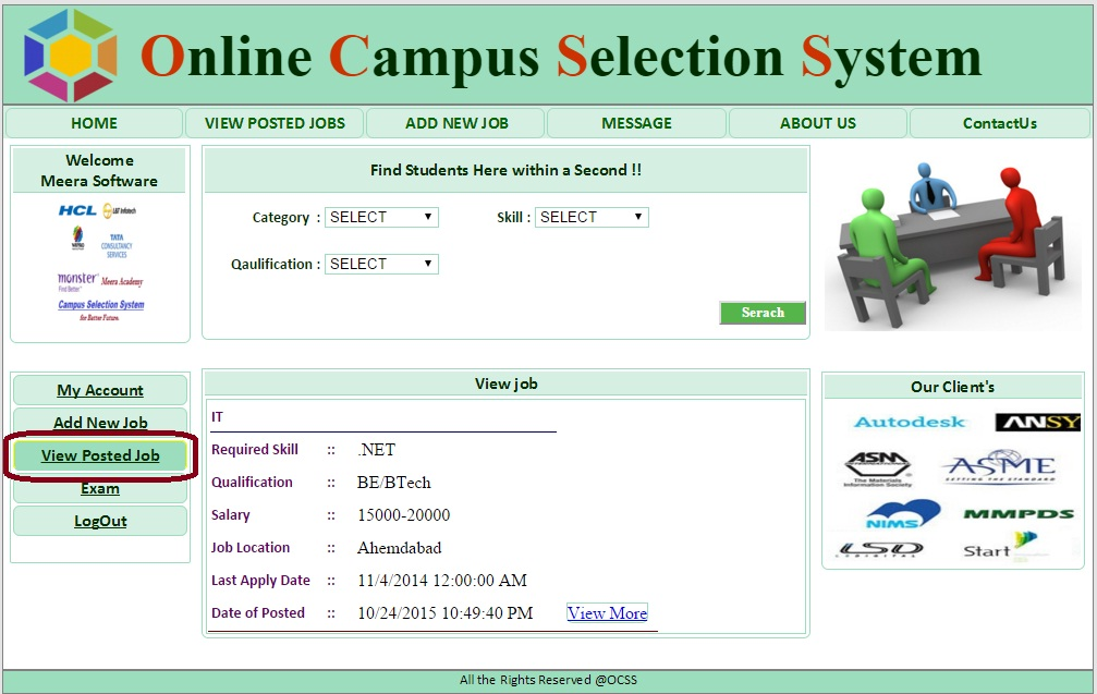 Company View Posted  Job Form  - Campus Selection System