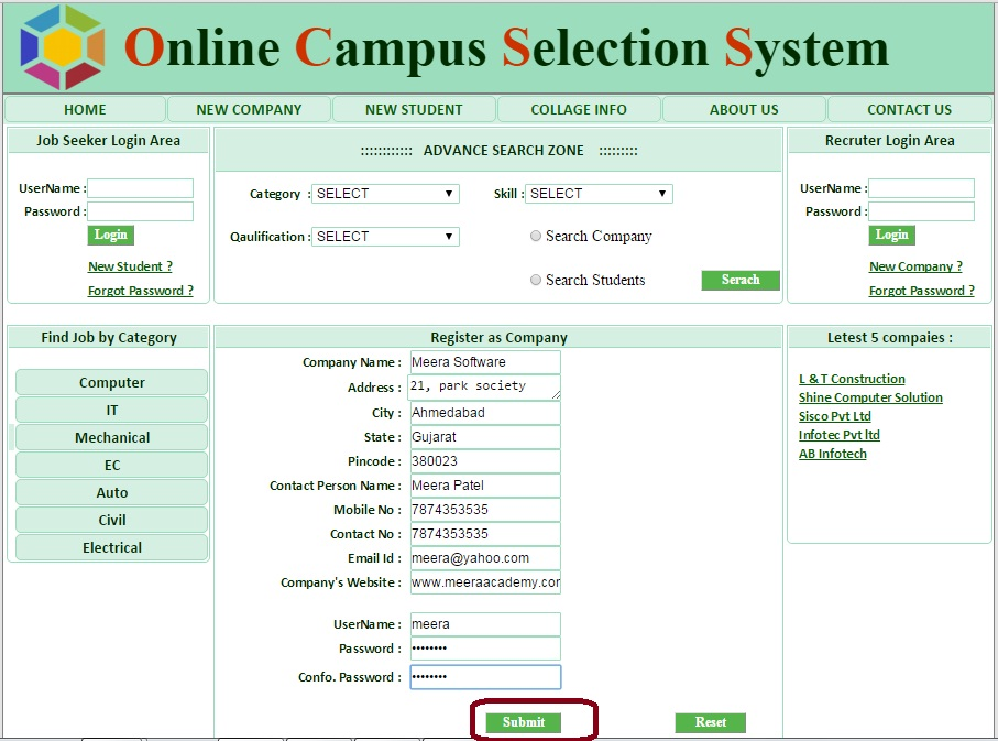 Company Registration - Campus Selection System