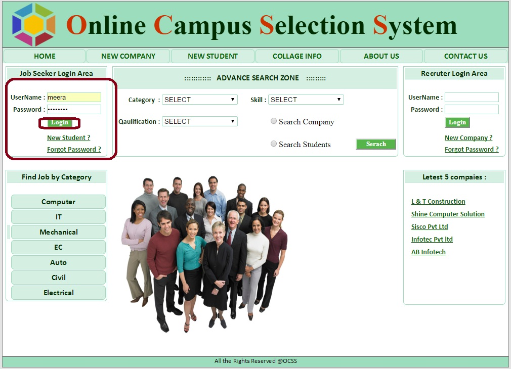 Student Login Form - Campus Selection System