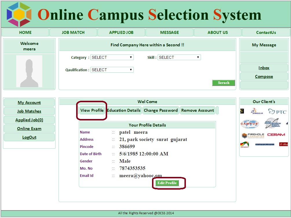 Student Profile page  - Campus Selection System