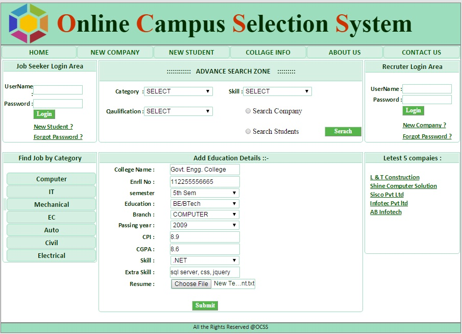 online campus selection system asp net project