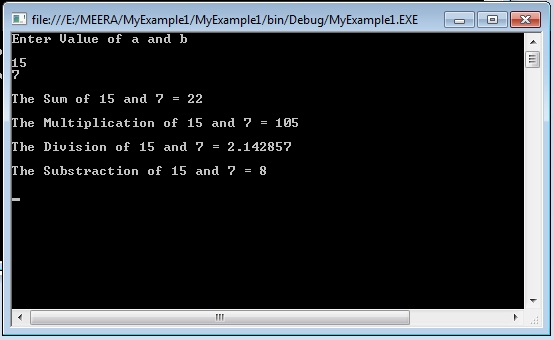 Console application program for sum,multiplication, division and subtraction.