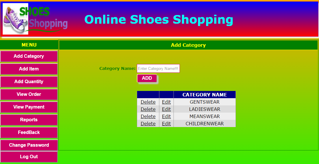 Online shoes shopping website project in c for Online websites for shopping