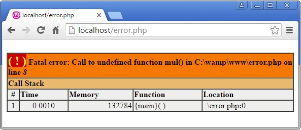 PHP Fatal Error Example