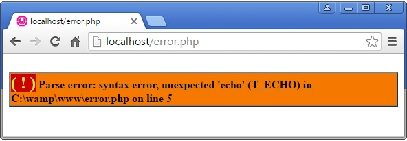 PHP Parse Error Example