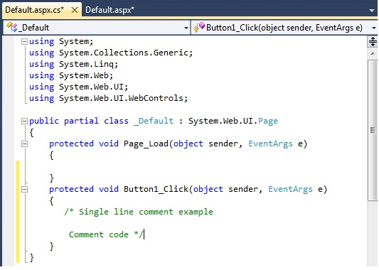 How to comment code in asp.net c#.