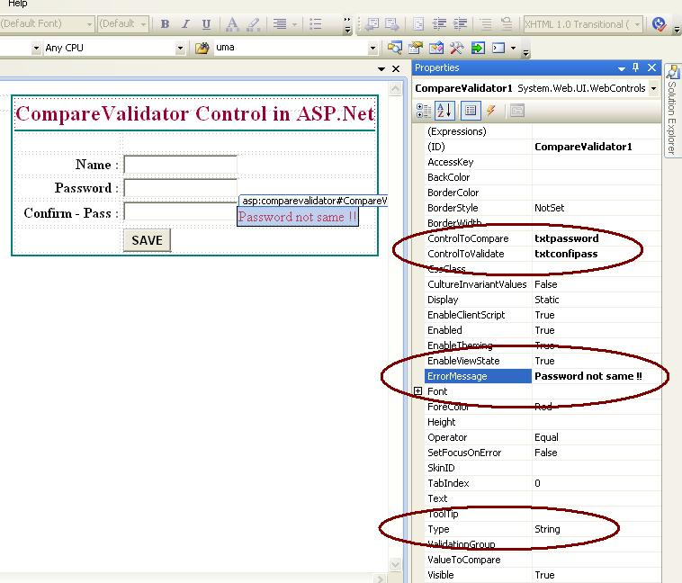 use compare validator control in asp.net
