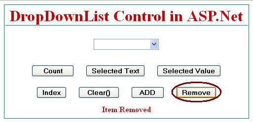 How to Remove item from dropdownlist control in asp.net C#.