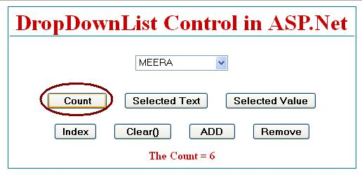 How to get total number of items count in dropdownlist in asp.net