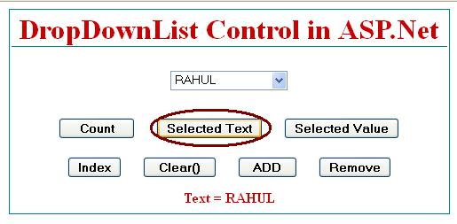 Get SelectedItem from dropdownlist control in asp.net