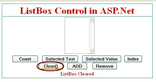 How to clear all items from listbox in asp.net c#.