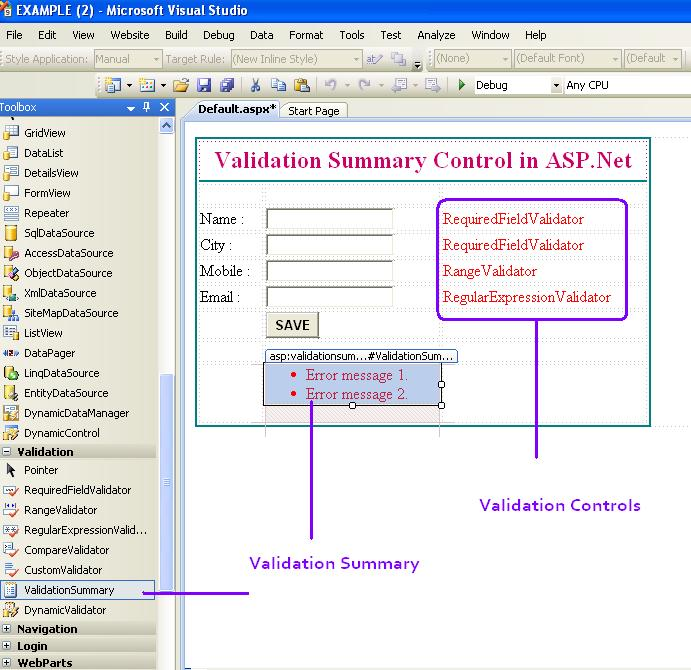 ValidationSummary Control in ASP.Net