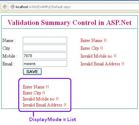 How to use ValidationSummary Control in ASP.Net