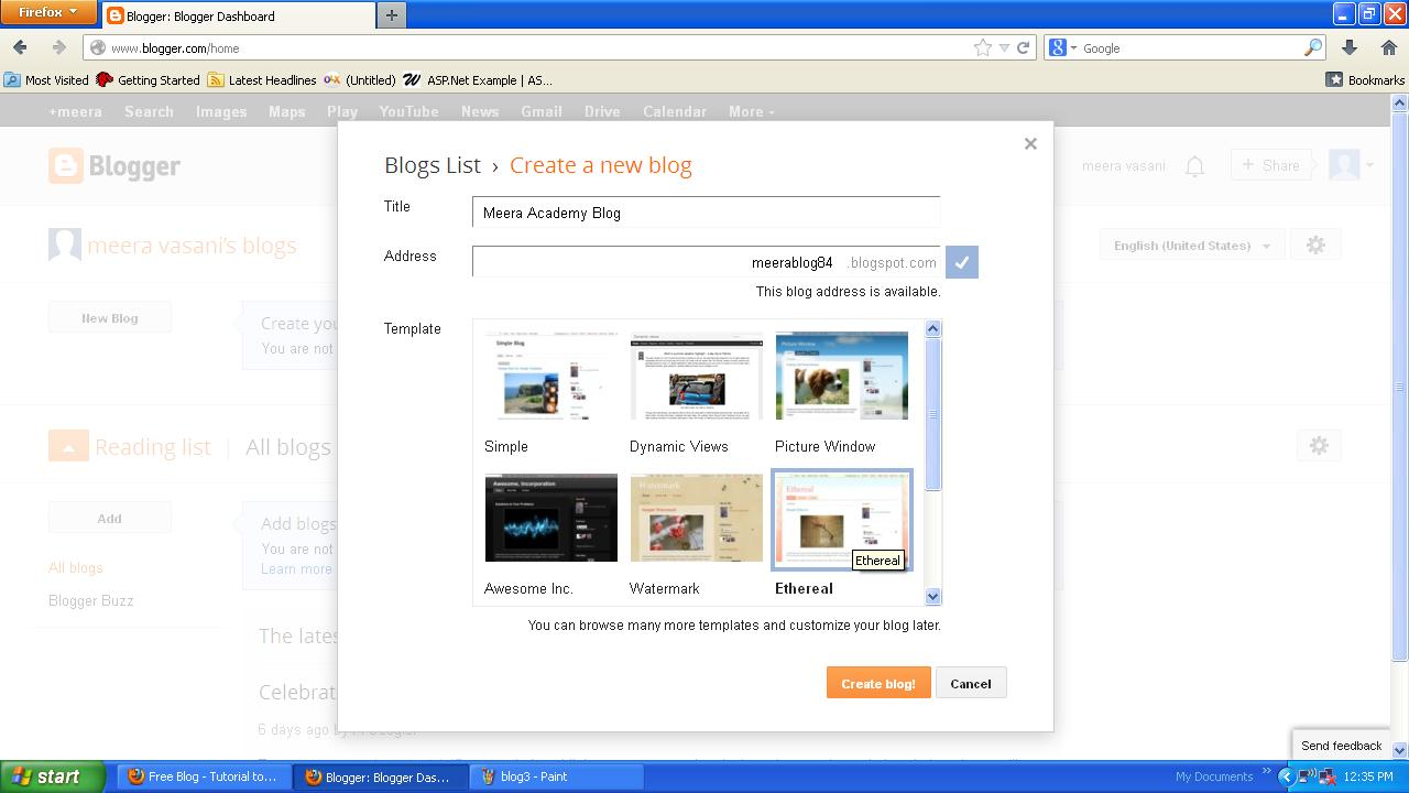How to create blog with blogger.