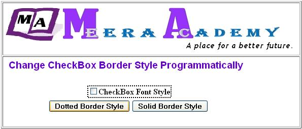 CheckBox control Border Style in ASP.Net with C#