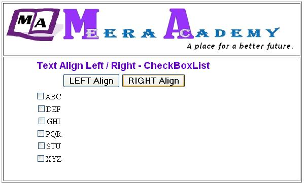 The ASP.Net CheckboxList Control Text Align Example in ASP.Net with C#