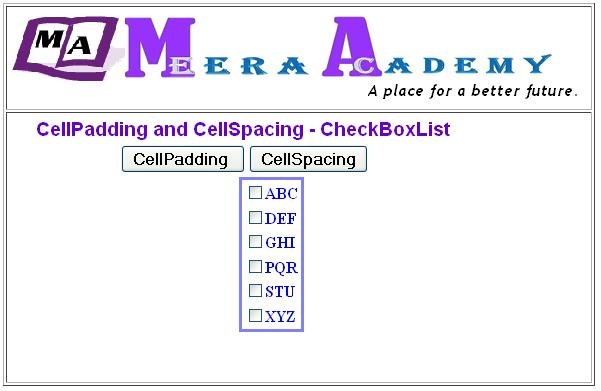 CheckBoxList Control CellPAdding in ASP.Net with C#