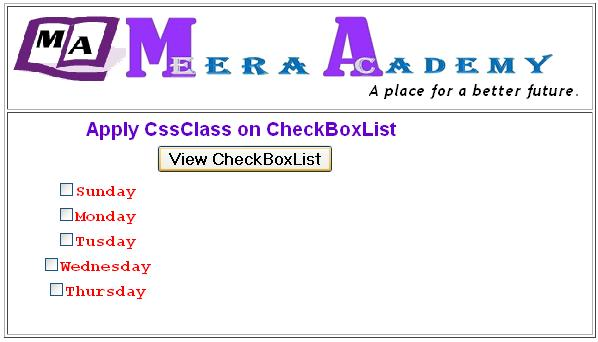 Use CssClass on CheckBoxList Control programmatically in ASP.Net
