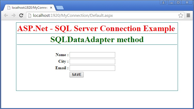 ASP Net - SQL Server Database Connection using SqlDataAdapter method