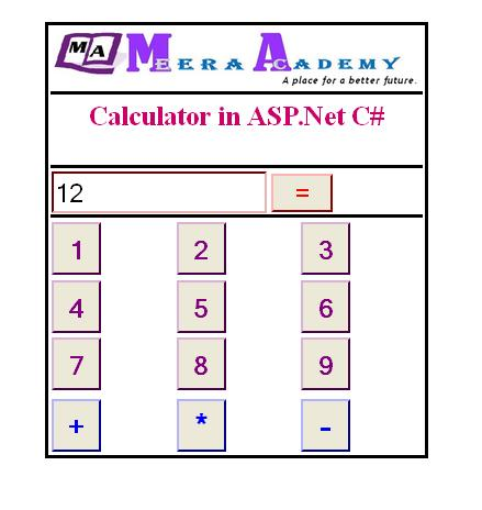 create calculator in asp.net with C#