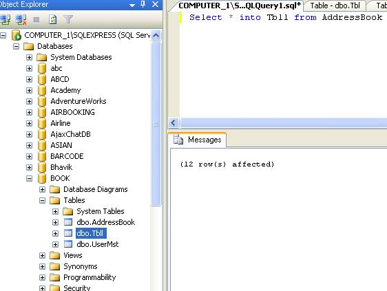 Copy Data from one table to other table in sql server