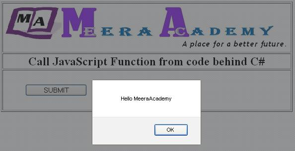 Call JavaScript function from code behind page in ASP.Net
