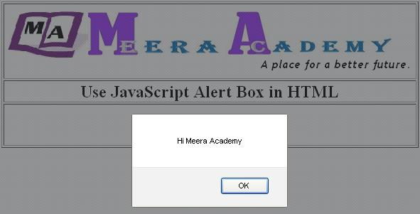 JavaScript alert() box in HTML