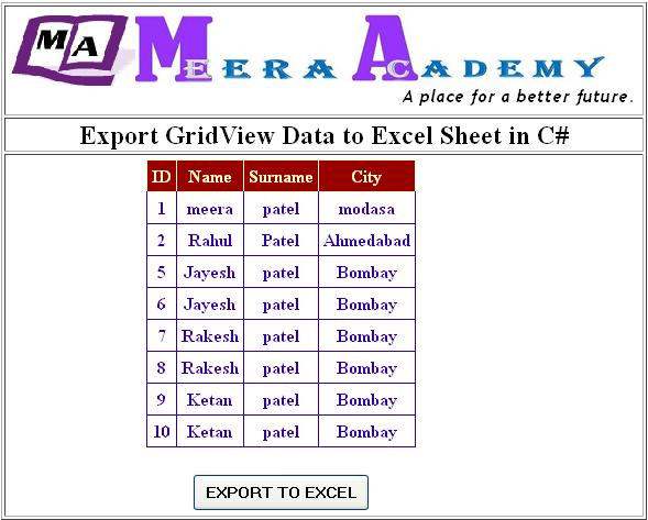 How to Export GridView Data to Excel Sheet in ASP.Net C#