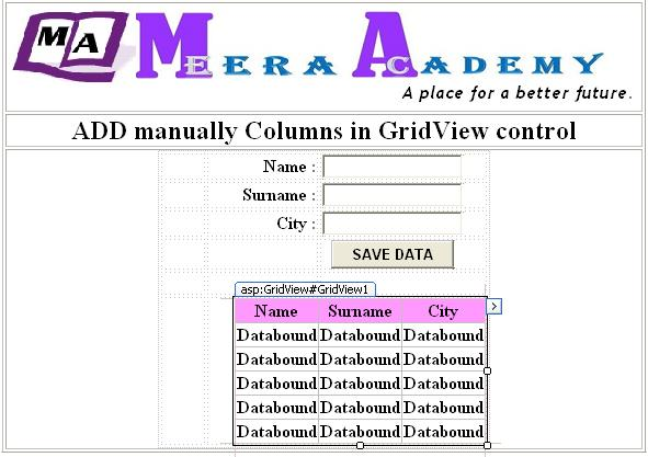 Add manually create columns in gridview control