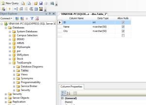 Create New Table in SQL Server Management Studio 2008.